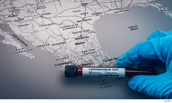 Muestra de sangre para detectar covid-19 sobre mapa de México