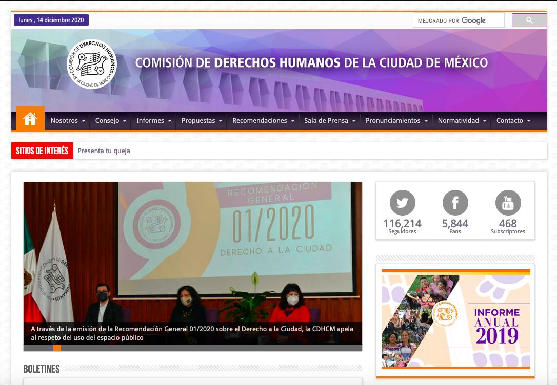 Portal de la CDH-CDMX