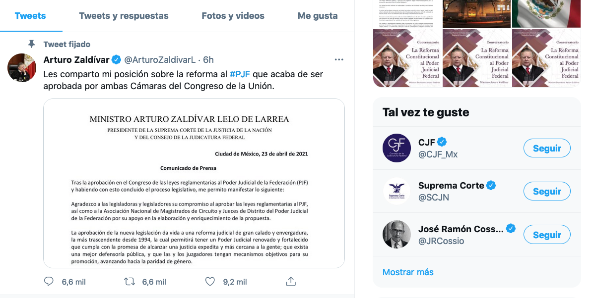 Twitter del ministro zaldívar