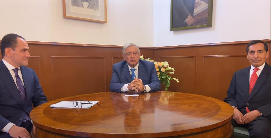 Arturo Herrera, presidente López Obrador y Rogelio Ramírez de la O.