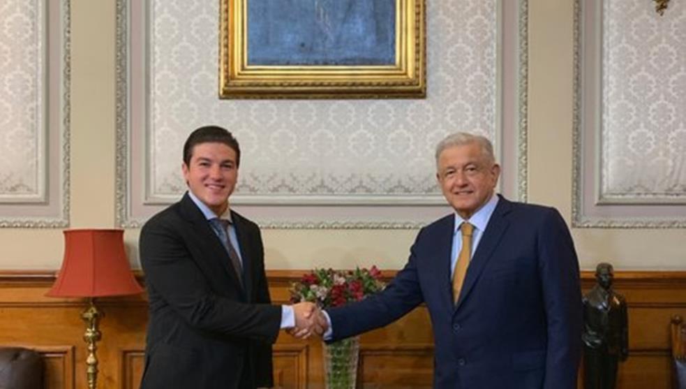 Gobernador de Nuevo León Samuel García y el presidente de México
