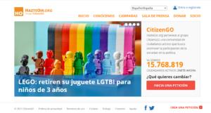 Portal de Hazte Oír del grupo Citizen Go con campaña contra LEGO