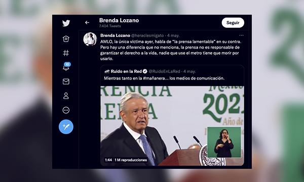 tweet de Brenda Lozano contra el gobierno de López Obrador