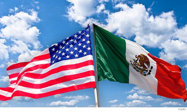 Bandera de México y Estados Unidos