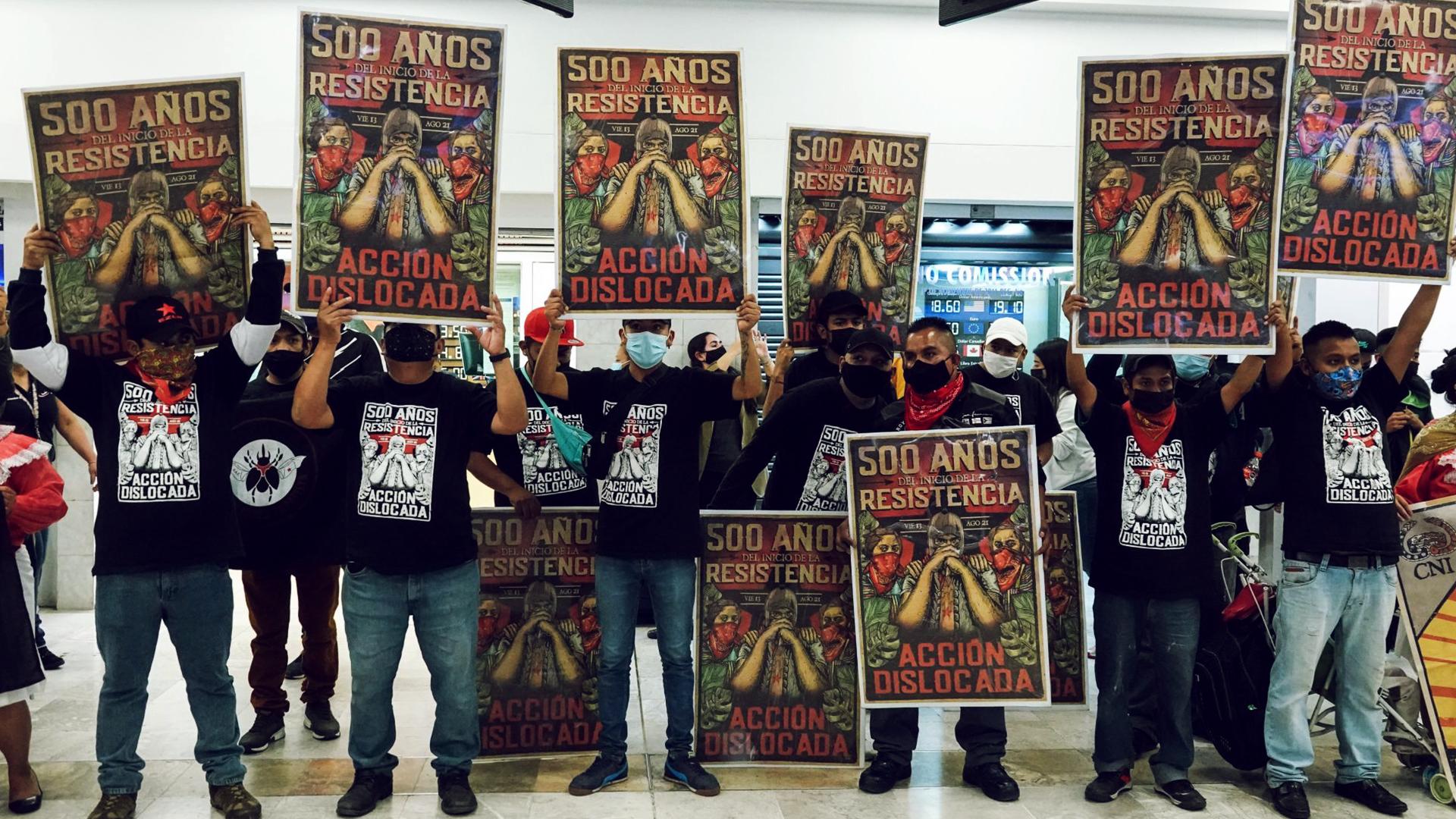Imagenes de los zapatistas que van rumbo a europa