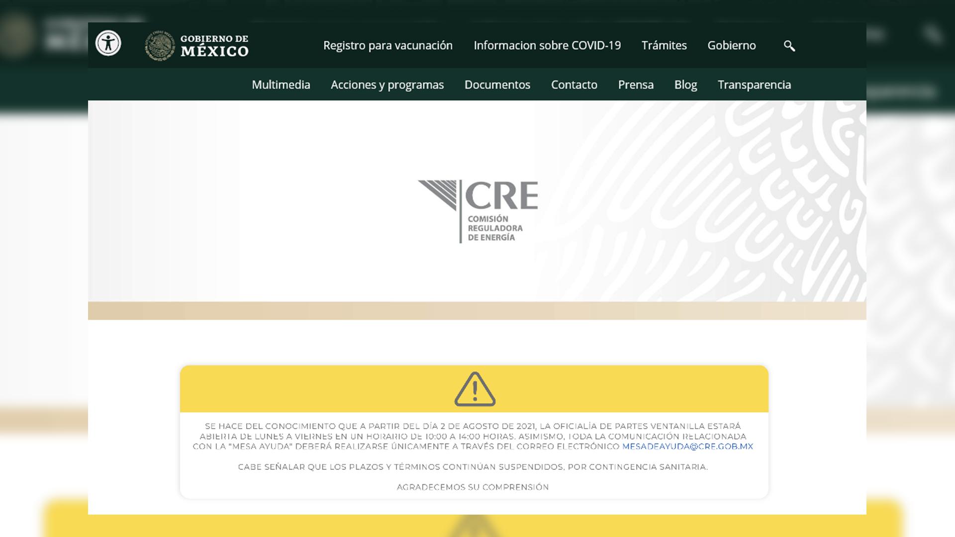 pagina web de la Comisión Reguladora de Energía (CRE)
